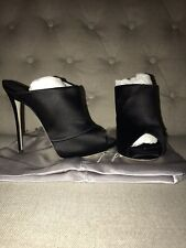 Giuseppe Zanotti Lady Mules Wrap Across Black Satin Heel Slip-on Size 38