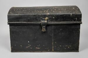 Early 20th Century Black Metal Dome Top Trunk With Handles, c.1900
