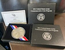 2 COINS, 2011 ARMY COMMEMORATIVE SILVER DOLLARS, IN US MINT BOX WITH COA
