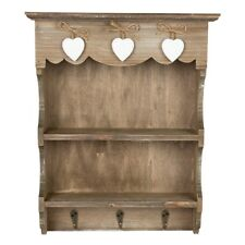 Chic Shabby Ashley Farmhouse Small Wall Display Unit Rustic Key Hooks Heart