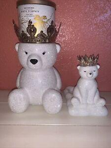 Bath & Body Works 3-Wick Candle & Soap Holder Pedestal GLITTER POLAR BEAR