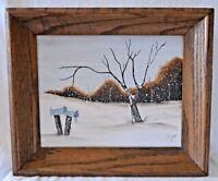 VTG OIL PAINTING LANDSCAPE RUSTIC WOOD Frame Winter Snow SCENE Tree Janet '81
