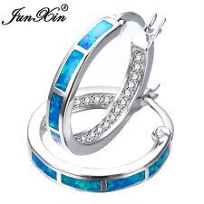Junxin Brand Women 925 Silver Fire Opal Circle Stud Earring Wedding Jewelry Gift