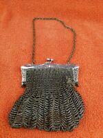 Antique Silver Plate  Art Nouveau  Chain Mail Purse / Handbag C1910