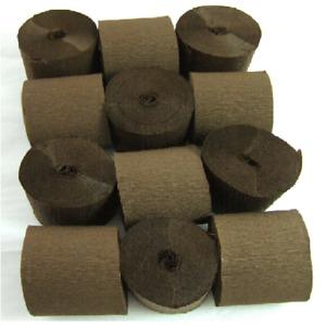 12 Dark Brown Crepe paper EACH Streamer 45mm x 10metres quauliy decoration