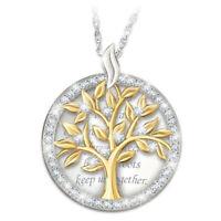 Family 925 Silver White Topaz Two Tone Gold Tree Pendant Choker Necklace Chain