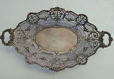 ANTIQUE 800 GERMAN SILVER  PIERCED&FOOTED BASKET BY POSEN  523 GRAMS