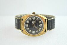 Vintage Timex 1970s Telephone Dial Mens Marlin Black Face Water Resistant Watch