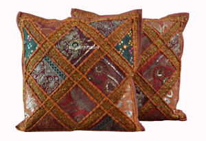 Ethnic Indian Cotton Set-2 Bohemian Cushion Cover Square Pillow Cover Zari Work