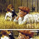 "47W""x35H"" THE CONVERSATION by JIM DALY BOY - VINTAGE MLB BASEBALL PUPPY CANVAS"