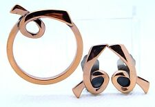 "VTG Matisse RENOIR Signed ""DEVOTION"" Design Copper Brooch & Earring Set"