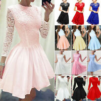 Womens Lace Formal Mini Dress Wedding Bridesmaid Party Evening Skater Dress