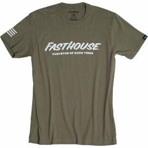 New Fast House Logo Short Sleeve Tee Shirt Military Green Large 1137-9010