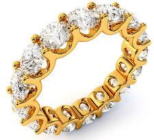 "5.63 ct Round Diamond Eternity Ring 14k Yellow Gold ""U"" Band 16 x 0.35 ct size 7"
