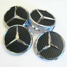 4x75mm Black Carbon Wheel Center Caps For Mercedes Benz Hubcaps Rim Caps Emblems