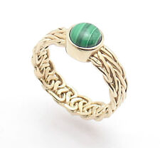 Sz 8 Genuine Round Malachite Gemstone Crown Ring REAL 14K Yellow Gold QVC