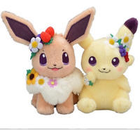 set of 2 Japan Pokemon Center Easter 2019 Flower pikachu Eevee Soft Plush Gift