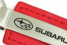 Subaru Leather Key Chain Red Rectangular Key Ring Fob Lanyard WRX Sti