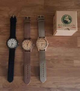 Men's Women's Watch with Canvas Strap Eco Natural Bamboo Wood Gift