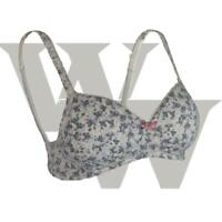 EX M&S Lace Padded Balcony T-Shirt Bra Pink Grey Floral non wired