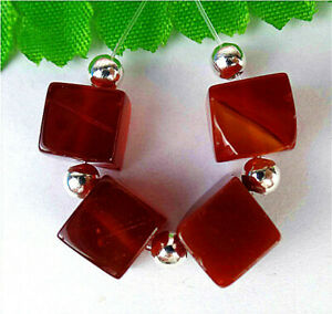4Pcs 8x8x8mm Red Agate Heigth Hole Cube Bead BV8983