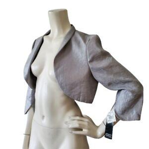 NEW Adrianna Papell Women's Bolero Silver Shrug Cropped Jacket 8