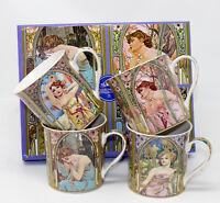 Set of 4 Mucha Design Art Nouveau Inspired China Mugs in Gift Box by Leonardo