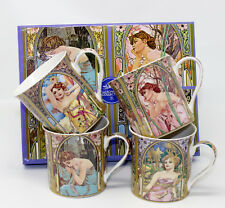 Set of 4 Mucha Design Art Nouveau Inspired China Mugs in Gift Box by Leonardo