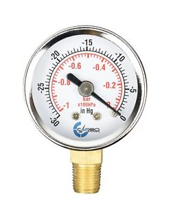 "1-1/2"" Vacuum Gauge - Chrome Plated Steel Case, 1/8""NPT, Lower Mnt. -30 inHg/0"