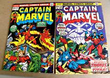 Marvel 1973 Jim Starlin 2 issues CAPTAIN MARVEL #27 & #28 3rd & 4th THANOS mst