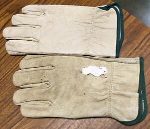 New Genuine Leather Work Gloves Adult Medium Light Natural Tan w/Green Trim NR