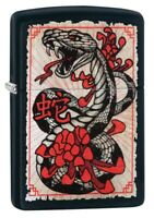 Zippo Snake Tattoo Design Black Matte Windproof Pocket Lighter, 218-081165