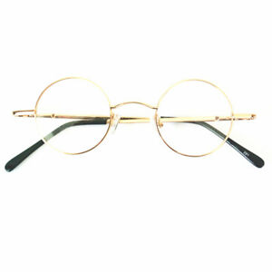 37mm Vintage Round Eyeglass Frames Gold Glasses Full Rim Spring Hinges Rx able
