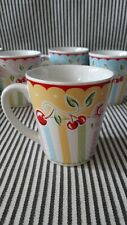 Vtg Retired Mary Engelbreit Yellow Cherry Blossom Mug Cup Cherries - 2 Available