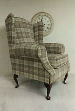 Wing Back/Queen Anne Cottage Cream and brown Latte Lana Tartan Chair