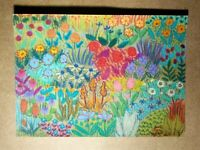 Original OOAK ACEO ATC 2.5 x 3.5 Signed Colorful Floral Flower Garden #001