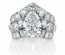 Certified 4.20Ct Lovely White Pear Cut Diamond Engagement Wedding Ring 14K Gold