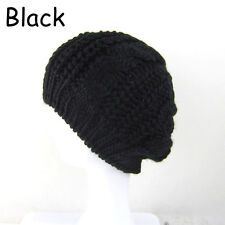 Womens Ladies Baggy Beret Chunky Cotton Knit Knitted Braided Beanie Hat Ski Cap