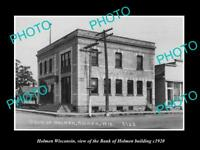 OLD LARGE HISTORIC PHOTO OF HOLMEN WISCONSIN, THE HOLMEN BANK BUILDING c1920