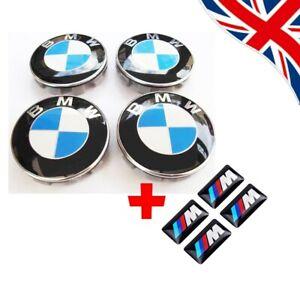 4 BMW Wheel Centre Caps+ badges Fits Most 1 3 5 7 Series X6 M3 Z4 E46 E90 68mm