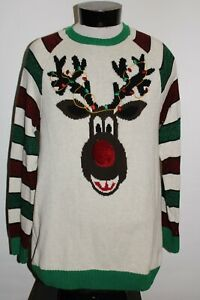 UGLY CHRISTMAS Sweater Mens Large L Reindeer Sweater Combine ship Discount