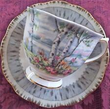 Vtg ROYAL ALBERT Bone China CUP+SAUCER Set~SILVER BIRCH~England~Gold Trim~Lovely