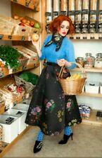 2017 Erdem x H&M Black Jacquard Floral Pattern Wide Midi A-Line Skirt UK 16