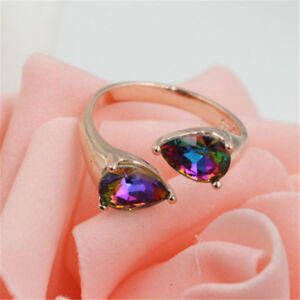 New Charm Colorful Double Crystal Inlaid Ring Rose Gold Women Jewelry Sale #19