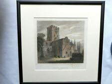 Glazed & Framed Hand Tinted Antique Print of Carlisle Cathedral, Cumbria