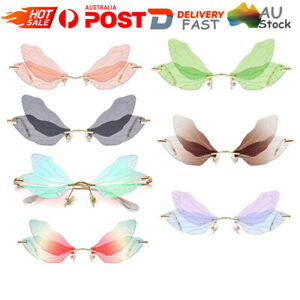 Butterfly Dragonfly Wings Sunglasses Women Fashion Unique Rimless Glasses HG