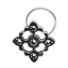 Solid Oxidized Indian Ethnic 925 Sterling Silver Nose Pin Women/Girls Flower Art