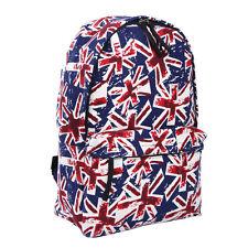 Premium Vintage Navy Union Jack UK Flag Canvas Backpack School Shoulder Bag
