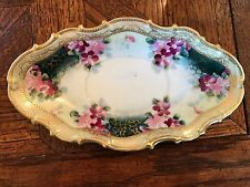 Vintage Elegant Old Nippon? Hand Painted Flowers Gold Moriage Candy Dish