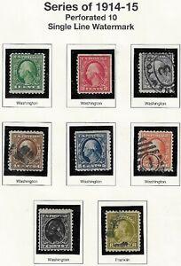 U.S. 1914-15 PERF 10 SL wmk #324-340 1c-50c on 2 Mystic Pages (SCANS) WYSIWYG